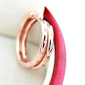 New Authentic Pandora Rose Gold Droplets Hoop